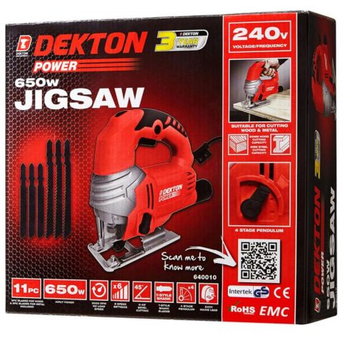 DEKTON POWER 240V 650W JIGSAW - 11PCS 640010